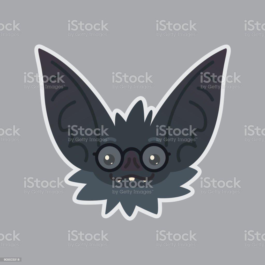 Bat sticker. Emoji. Vector illustration of cute Halloween bat vampire shows nerd emotion. Education. Emoticon icon with sublayer. Bat-eared grey creatures snout in glasses. Print vector art illustration