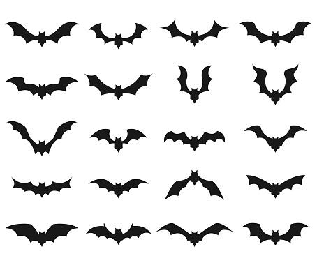Bat vector icon set