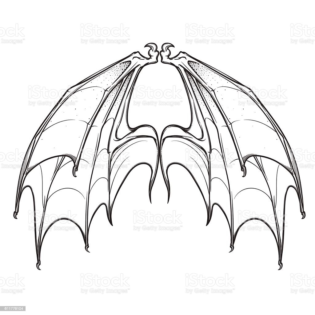 Bat Wings Isolated On White Background Stock Vector Art & More ...