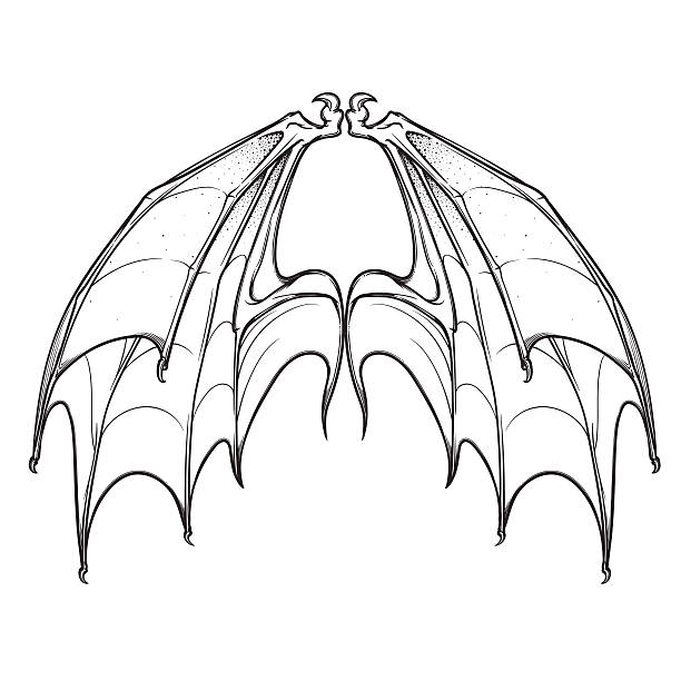 X Wing Line Drawing : Royalty free silhouette of the bat wing tattoos clip art