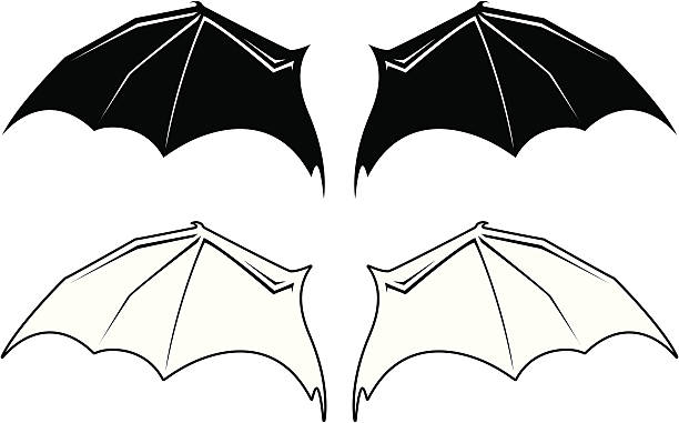 bat wings - bat stock illustrations, clip art, cartoons, & icons