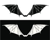 Bat wings as black and white. Editable vector Eps8 file.