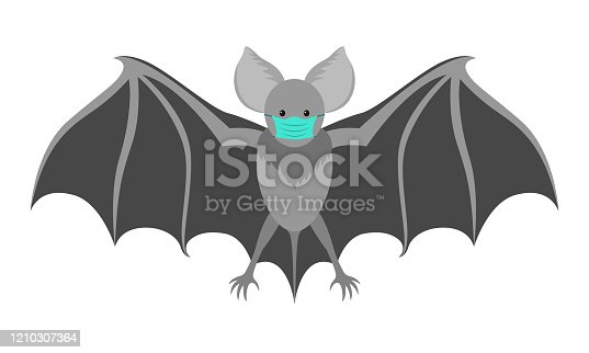 istock Bat with a medical mask. Flittermouse considered to be eventual cause of coronavirus COVID-19 infection. 1210307364