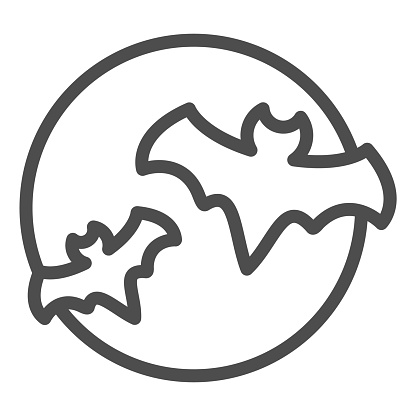 Bat with full moon clouds line icon, halloween concept, big moon and two bats sign on white background, flittermouse flies in sky at night icon in outline style. Vector graphics.