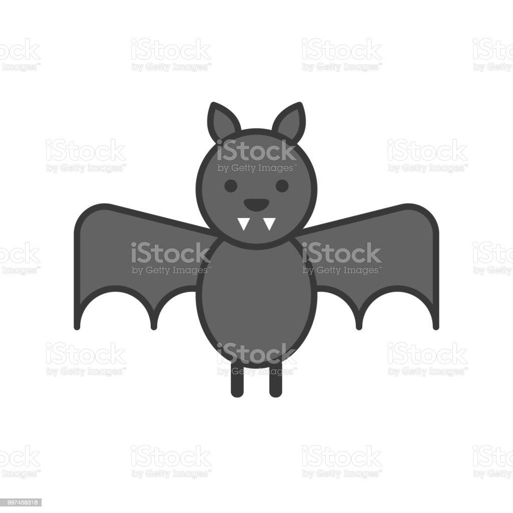27404fc408501 Bat Zoo Animal Icon Set Filled Outline Design Stock Vector Art ...