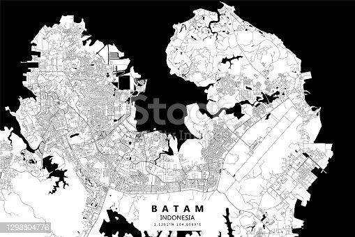 istock Batam, Indonesia Vector Map 1298804776