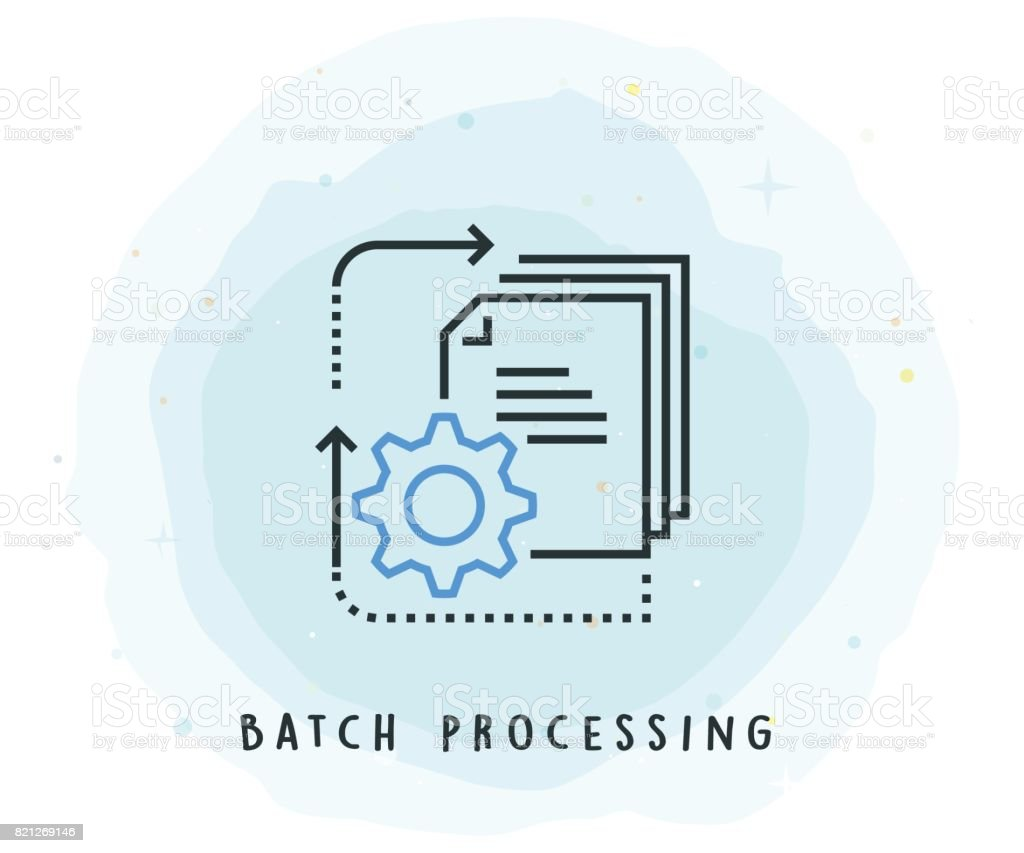 Batch Processing Icon with Watercolor Patch vector art illustration