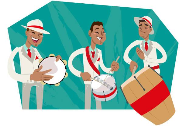 stockillustraties, clipart, cartoons en iconen met bateria de escola de samba - tamboerijn