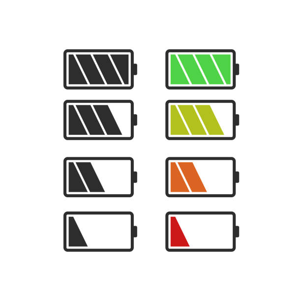 Batery icon, vector flat design Batery icon, vector flat design rechargeable battery stock illustrations