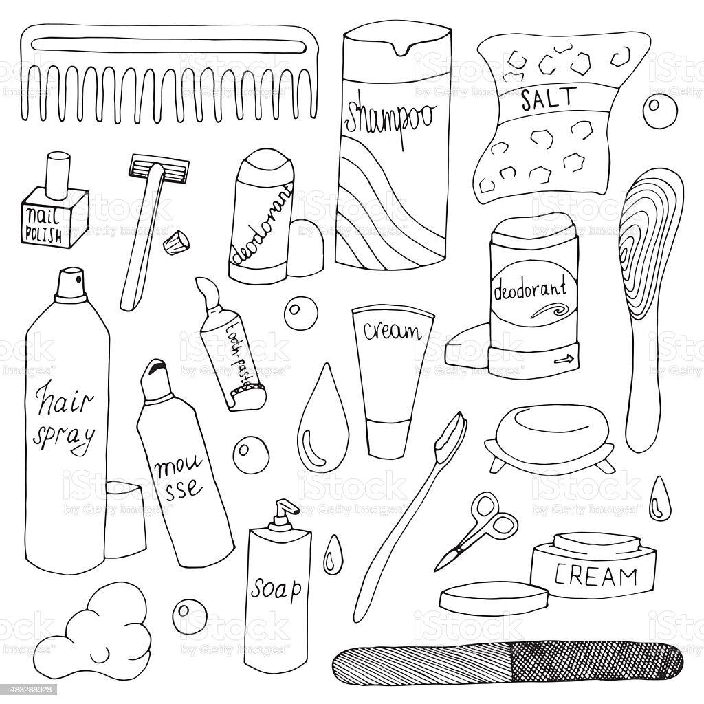 Bath accessories hand drawn doodle set vector art illustration