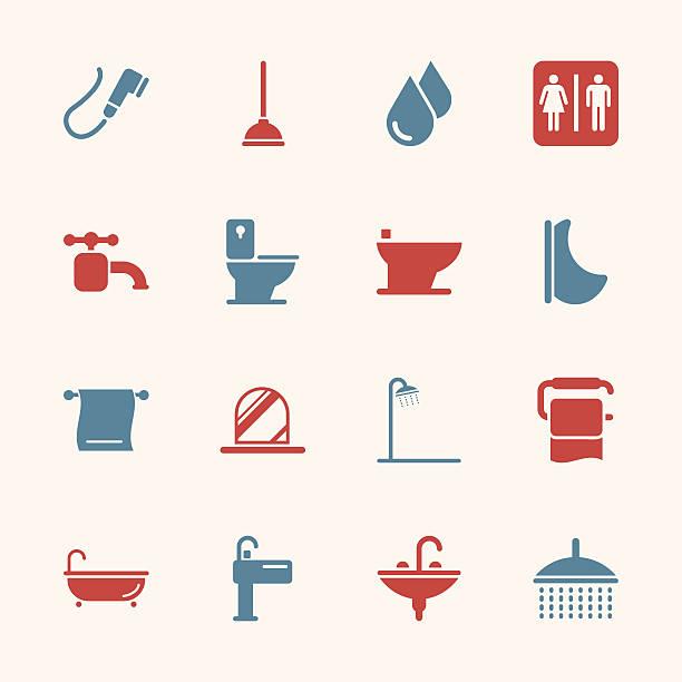 badewanne und badezimmer-icons-color-serie/eps10 - duscharmaturen stock-grafiken, -clipart, -cartoons und -symbole