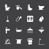 Bath and Bathroom Icons White Series Vector EPS10 File Icons.