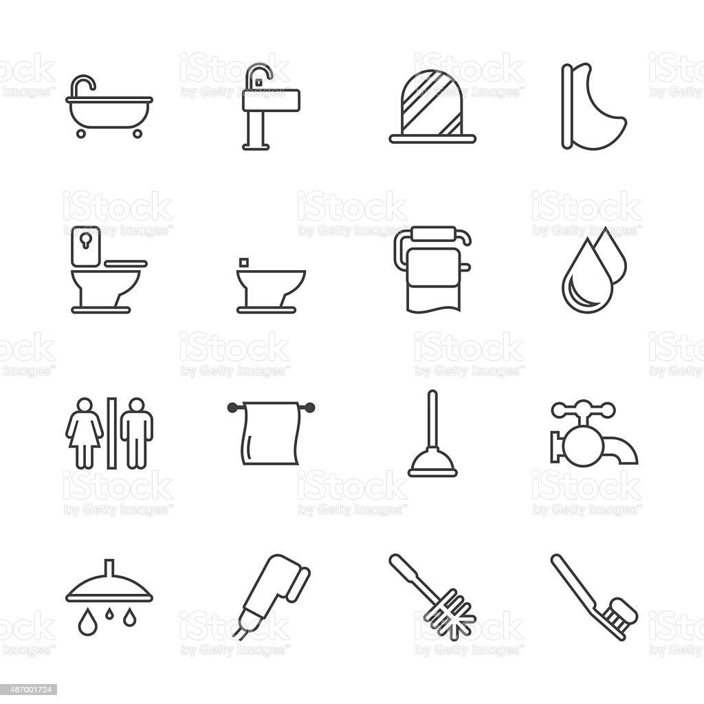 Banheira e banheiro-Line Series - ilustração de arte em vetor