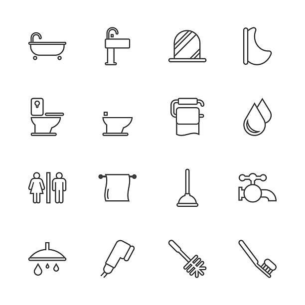 badewanne und badezimmer-line serie - duscharmaturen stock-grafiken, -clipart, -cartoons und -symbole