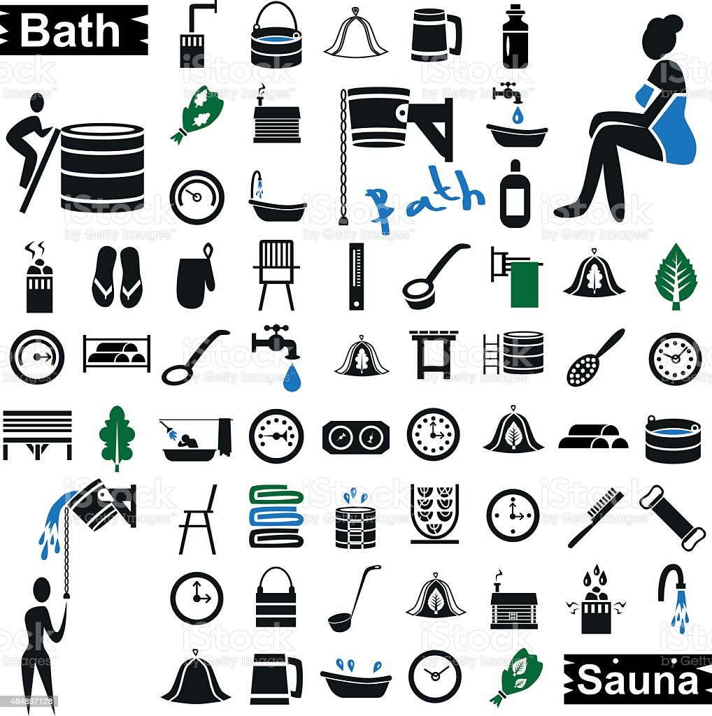 bath and sauna icons on white vector art illustration