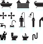 bath and bathroom black and white icon set