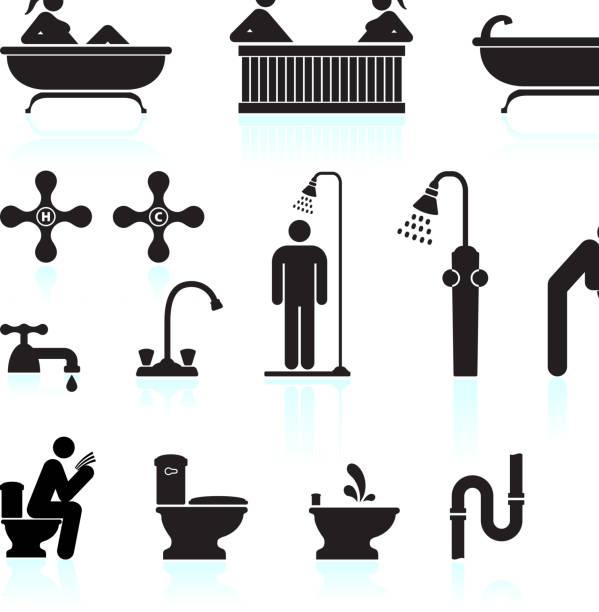bad & badezimmer, schwarz und weiß, vektor icon-set - fallrohr stock-grafiken, -clipart, -cartoons und -symbole