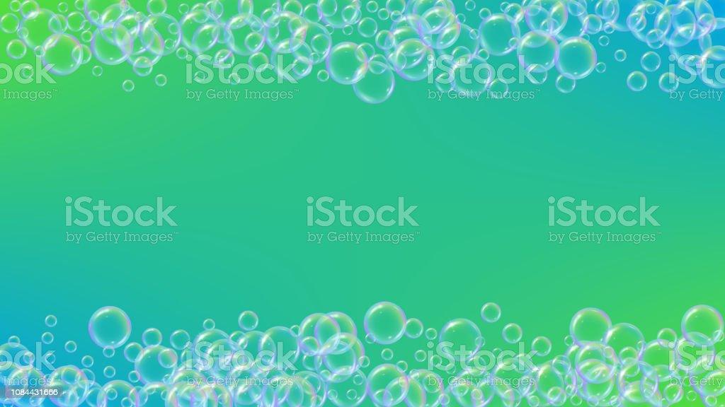 Bath bubble. Detergent soap foam and suds for bathtub. Shampoo. 3d...