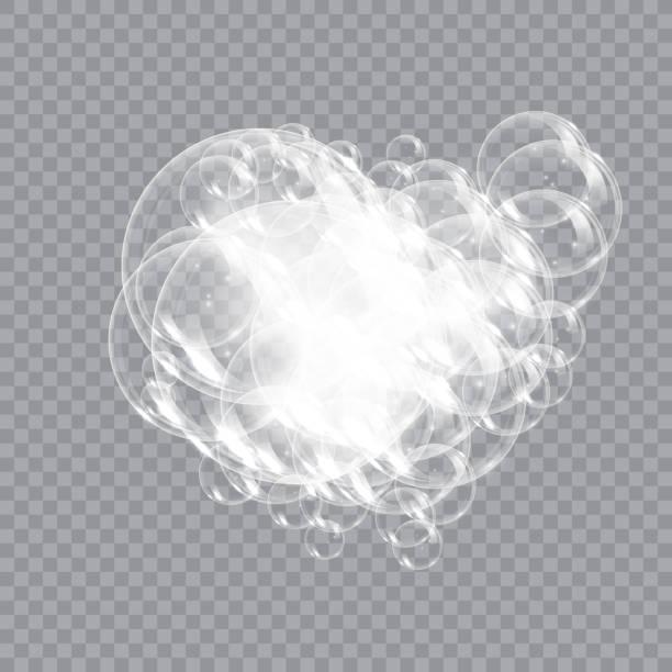 illustrations, cliparts, dessins animés et icônes de savon de mousse de bain avec l'illustration de vecteur d'isolement de bulles sur le fond transparent. illustration de vecteur de mousse de shampooing et de mousse de savon. - mousse d'emballage