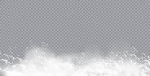 透明な背景に泡分離ベクトルイラストとバスフォーム石鹸。シャンプーとソープフォーム泡立ちベクトルイラスト - 楽しい 洗濯点のイラスト素材/クリップアート素材/マンガ素材/アイコン素材