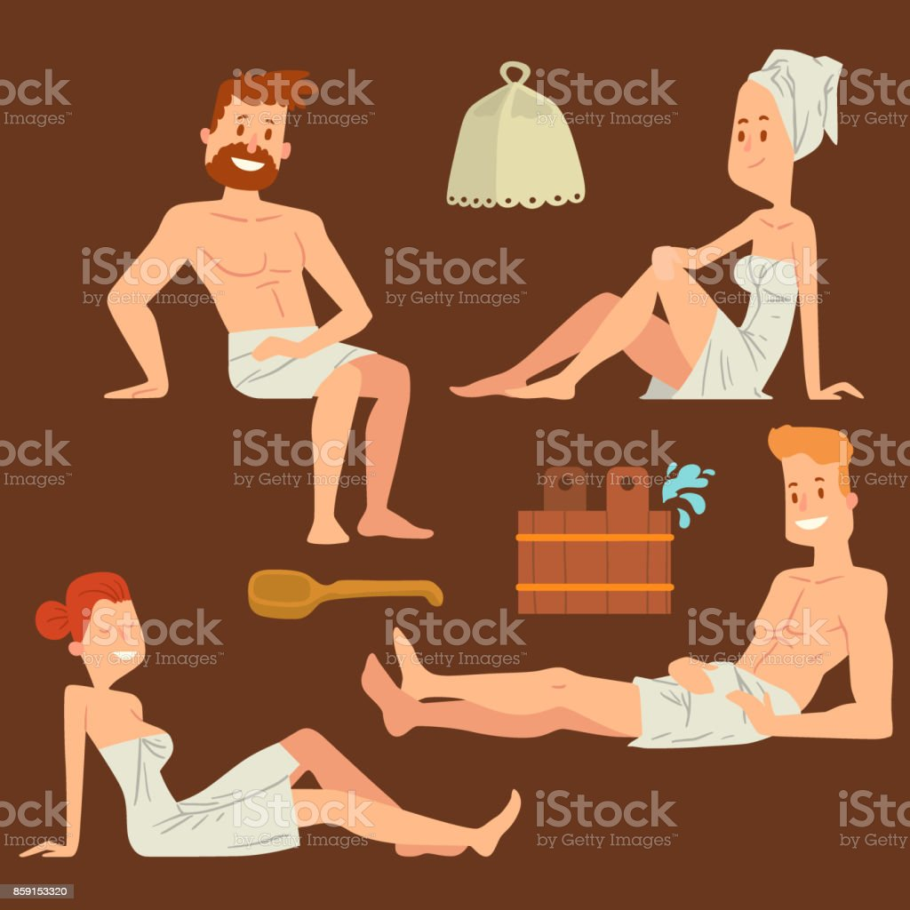 Bath people body washing face and bath taking shower steam take luxury relaxation characters vector illustration vector art illustration