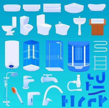 Bath room vector illustration set, cartoon 3d modern bathroom interior and bathing equipment collection for home hotel apartment