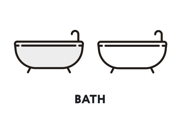 bad dusche hygiene vektor flache linie schlaganfall icon - entenhaus stock-grafiken, -clipart, -cartoons und -symbole