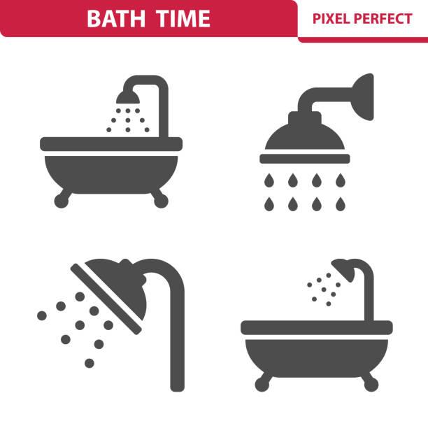 ilustrações, clipart, desenhos animados e ícones de ícones de tempo de banho - chuveiro