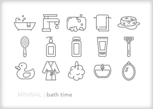 ilustrações de stock, clip art, desenhos animados e ícones de bath time line icon set - esponja