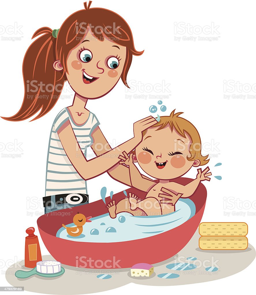 Bath Time vector art illustration