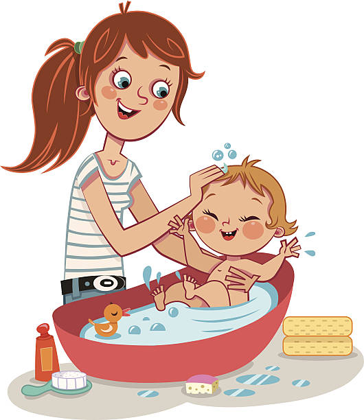 bath time - babysitter stock illustrations, clip art, cartoons, & icons
