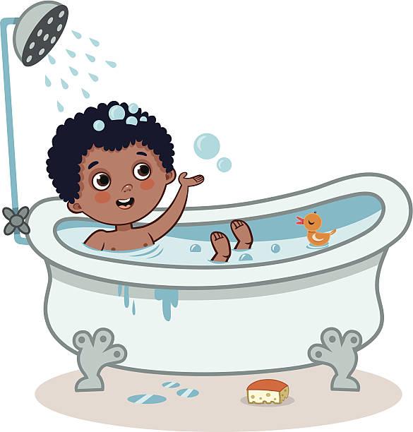 Royalty Free Young Boy Taking A Bath At The Bathtub Clip ...