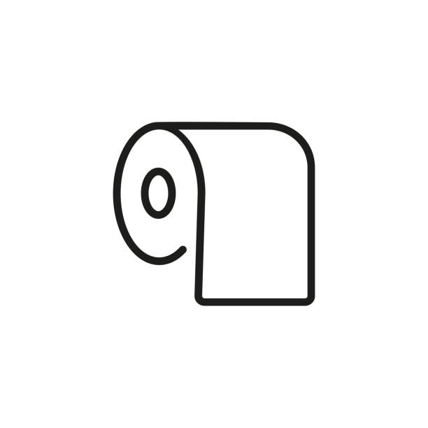 Bath tissue line icon Line icon of bath tissue. Paper toilet, hygiene, bathroom. Water closet concept. Can be used for topics like public services, household goods, sanitary toilet paper stock illustrations