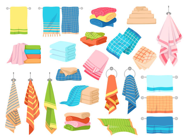 illustrazioni stock, clip art, cartoni animati e icone di tendenza di bath towel. hand kitchen towels, textile cloth for spa, beach, shower fabric rolls lying in stack. cartoon vector set - kitchen situations