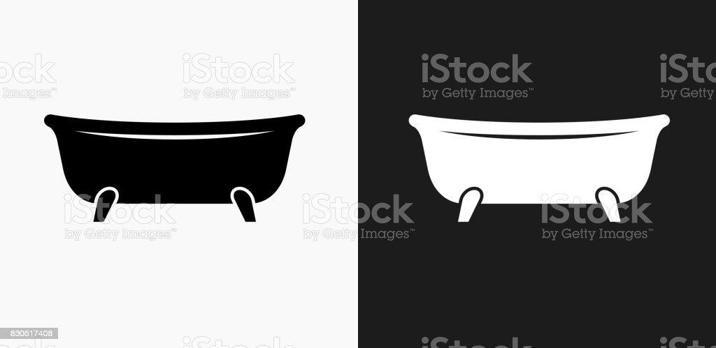 Badewanne Symbol Auf Schwarzweißvektorhintergründe Stock Vektor Art