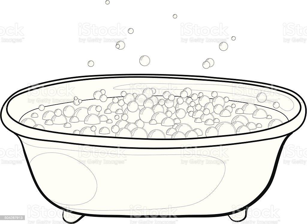 Bath with bubbles, contours vector art illustration