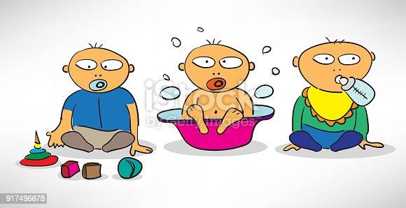 Bathing, feeding and playing baby