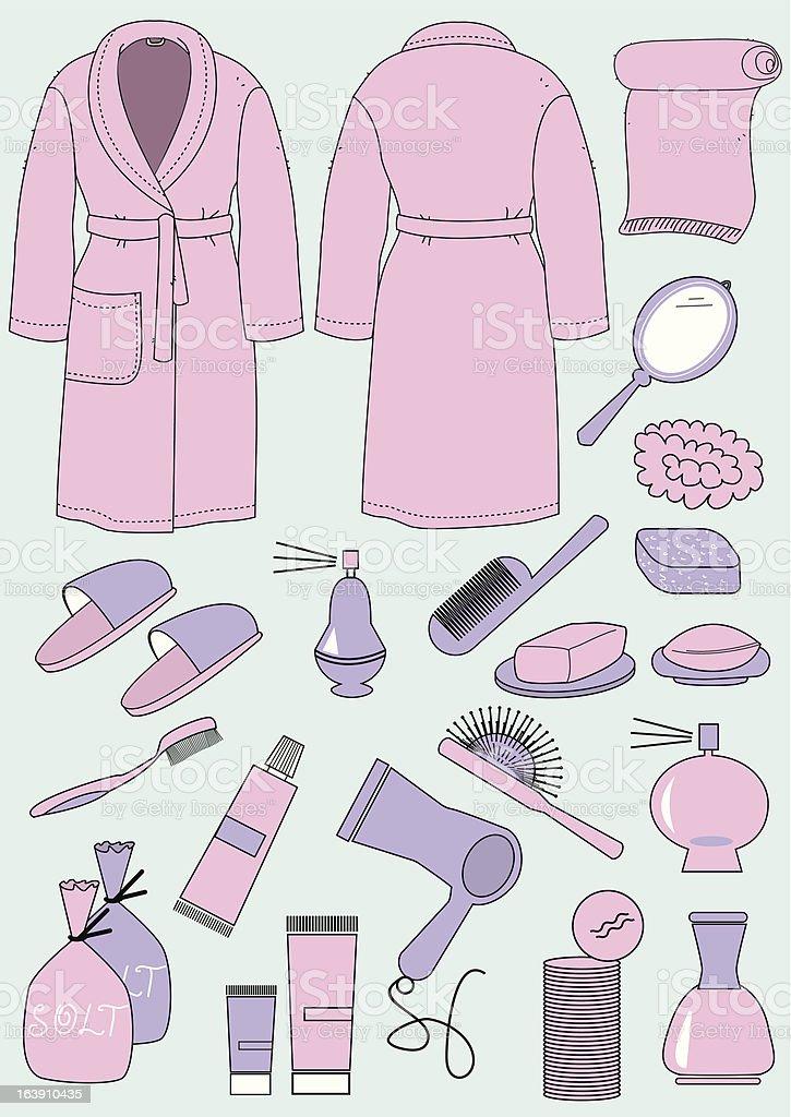 Bathrobe and objects for bathroom vector art illustration