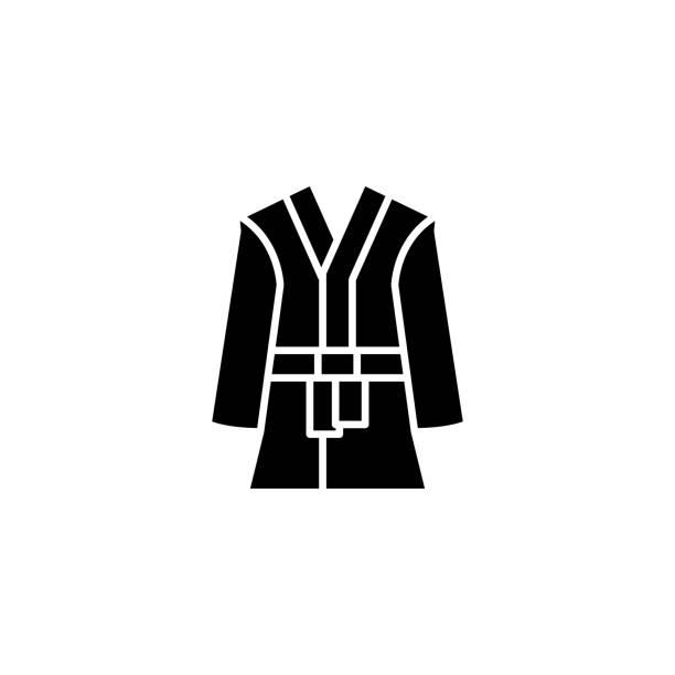 浴袍黑色圖示概念。浴袍平面向量符號, 符號, 插圖。向量藝術插圖