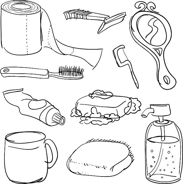 Bathroom accessories in Black and White vector art illustration