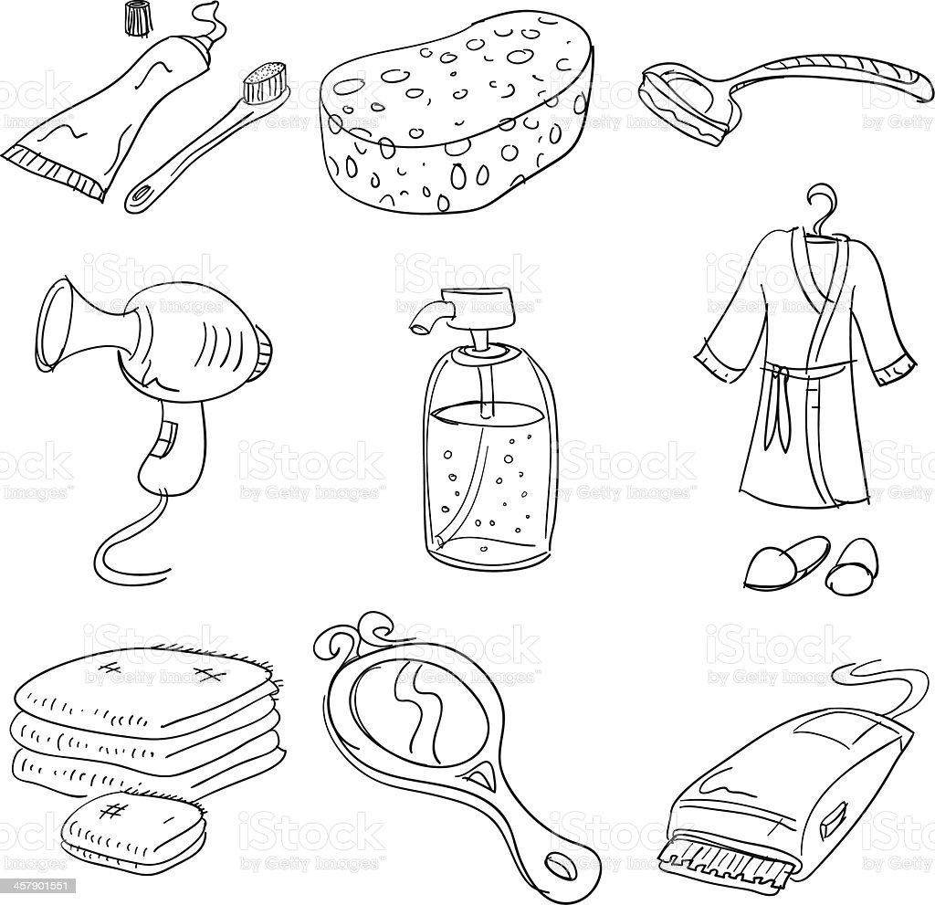 Bathroom accessory collection vector art illustration