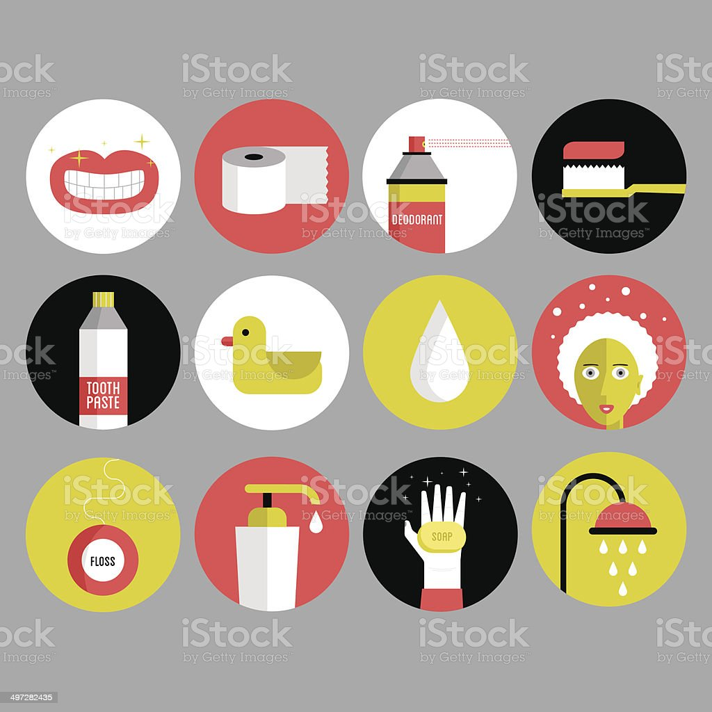 Bathroom and Hygiene Icons royalty-free stock vector art