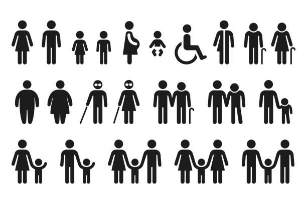 Bathroom and medical people icon set vector art illustration