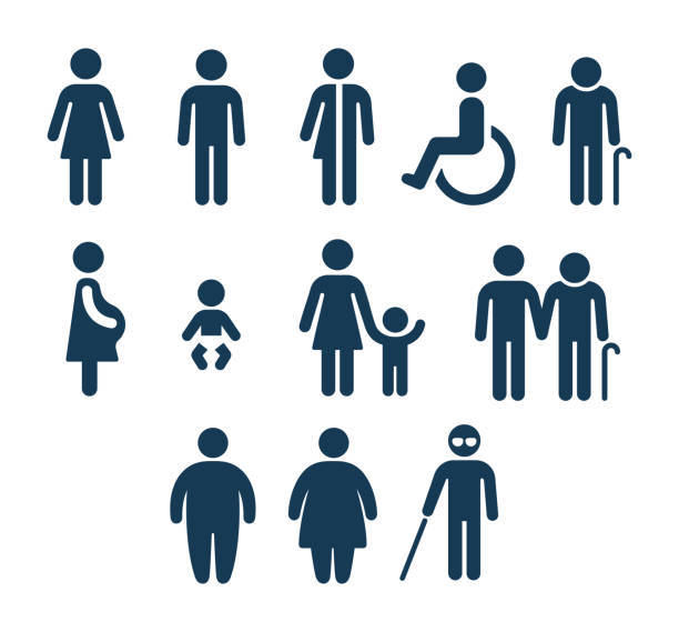 bathroom and medical people icons - people stock illustrations