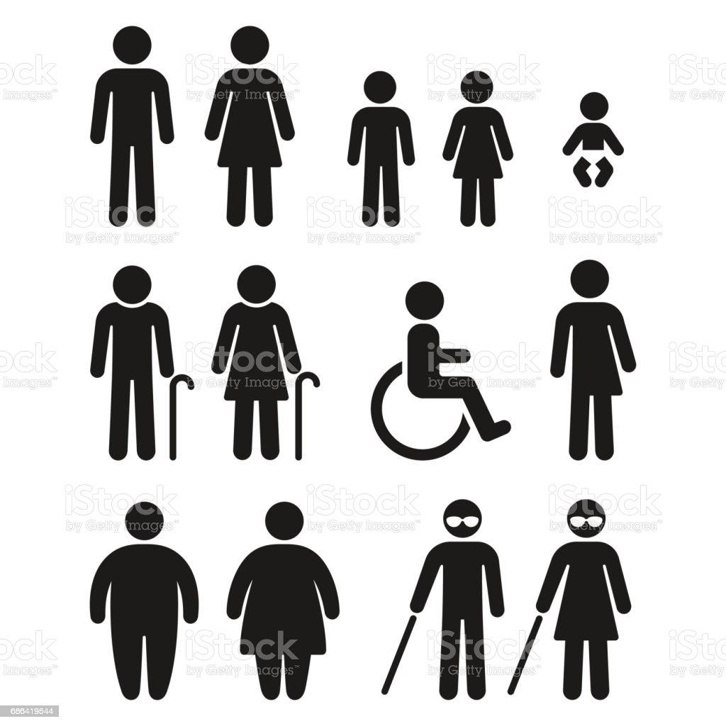Bathroom and medical people symbols