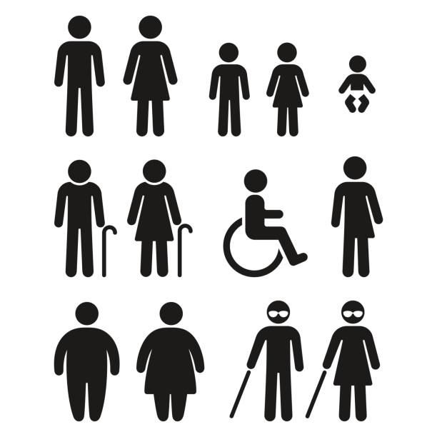 bathroom and medical people symbols - old man sex silhouette stock illustrations, clip art, cartoons, & icons