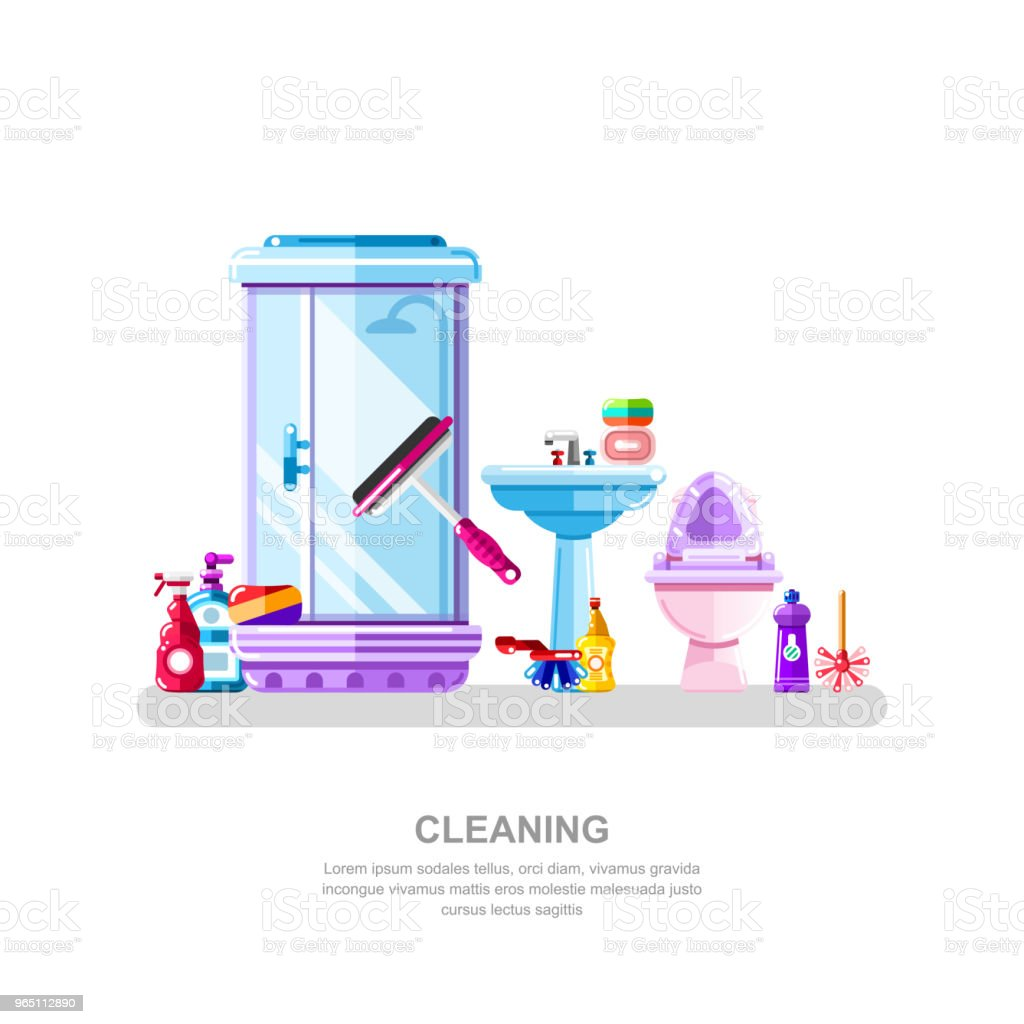 Bathroom and sanitary engineering cleaning. Vector illustration of shower cabin, sink, toilet, cleaning detergents royalty-free bathroom and sanitary engineering cleaning vector illustration of shower cabin sink toilet cleaning detergents stock vector art & more images of bathroom