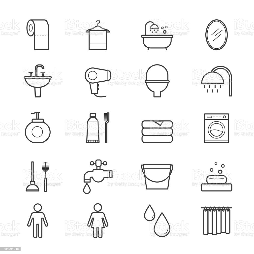 Bathroom and Toilet Icons Line vector art illustration