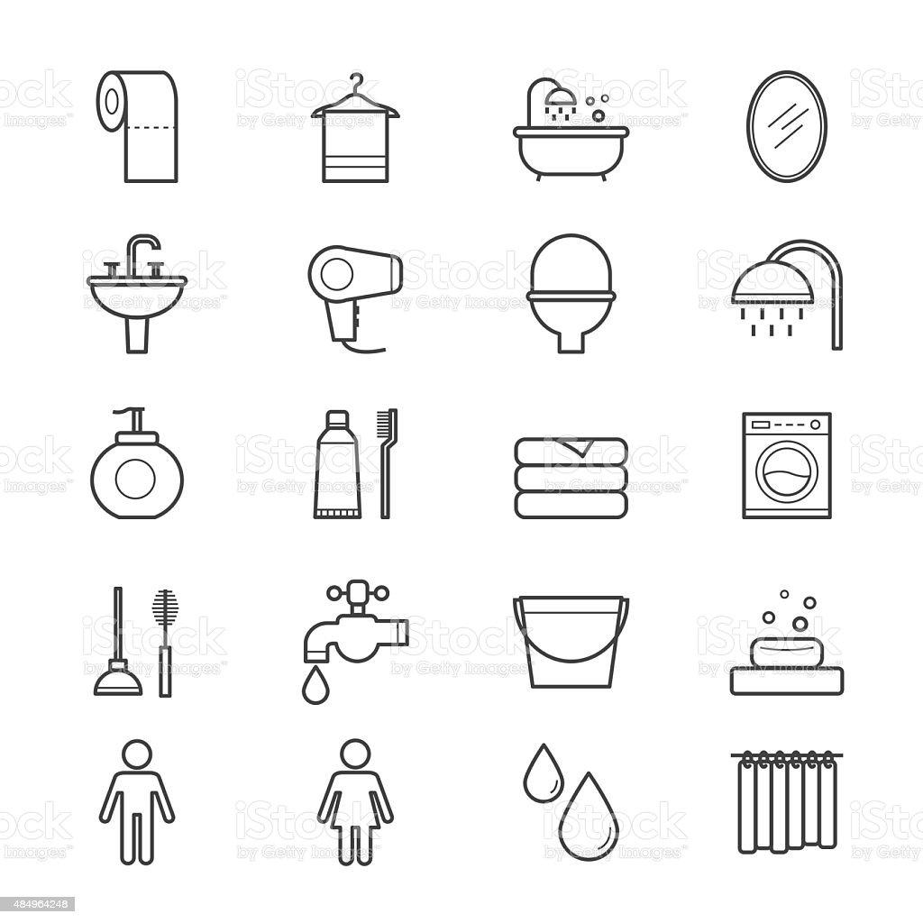 Badezimmer und WC Symbole Line – Vektorgrafik
