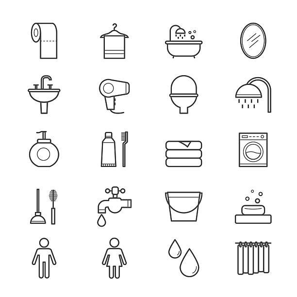 badezimmer und wc symbole line - badezimmer stock-grafiken, -clipart, -cartoons und -symbole
